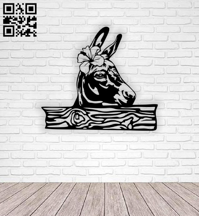 Donkey with flower E0014794 file cdr and dxf free vector download for laser cut plasma