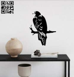 Eagle on a branch E0014735 file cdr and dxf free vector download for laser cut plasma