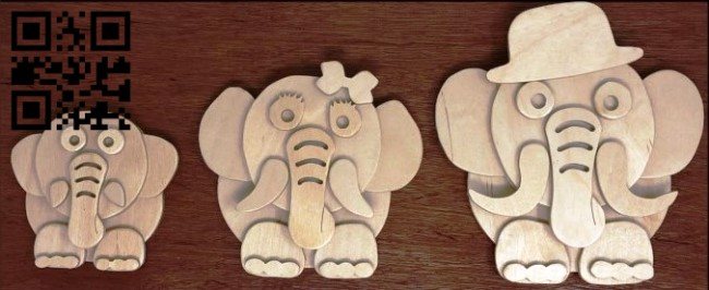 Elephants E0014501 file cdr and dxf free vector download for laser cut