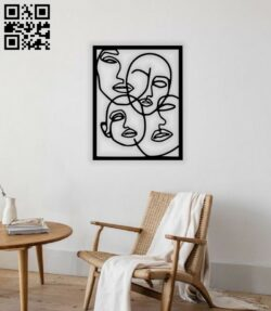 Faces line art E0014489 file cdr and dxf free vector download for laser cut plasma