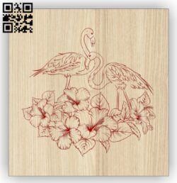 Flamingo with flower E0014597 file cdr and dxf free vector download for laser engraving machine
