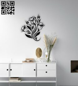 Flower wall decor E0014557 file cdr and dxf free vector download for laser cut plasma