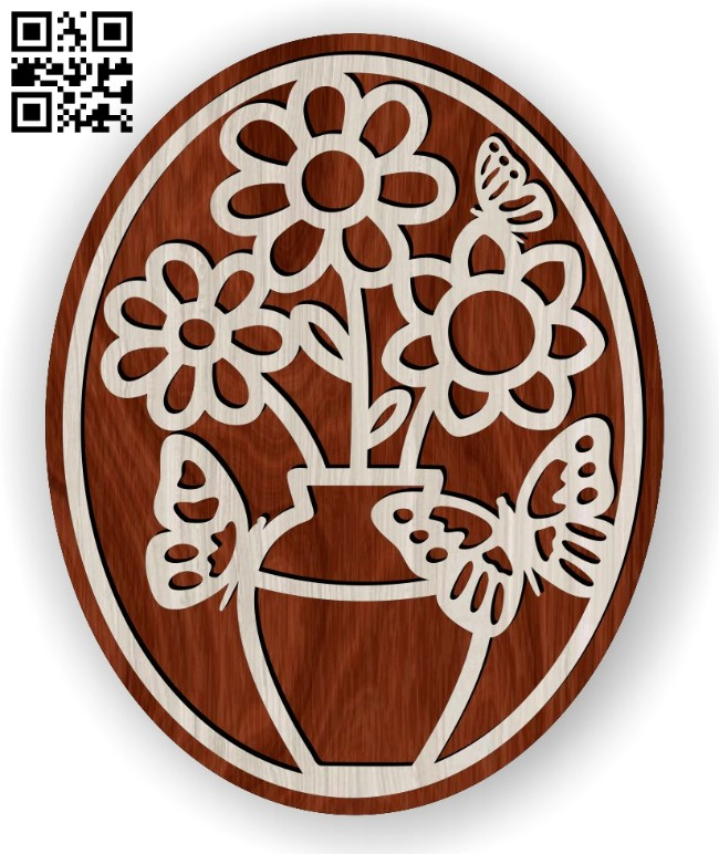 Flowers and butterflies E0014759 file cdr and dxf free vector download for laser cut
