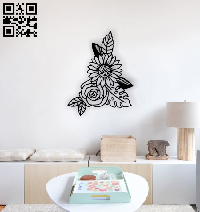 Flowers wall decor E0014528 file cdr and dxf free vector download for laser cut plasma