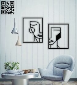 Geometric faces wall decor E0014526 file cdr and dxf free vector download for laser cut plasma