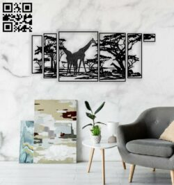 Giraffe wall decor E0014484 file cdr and dxf free vector download for laser engraving machine
