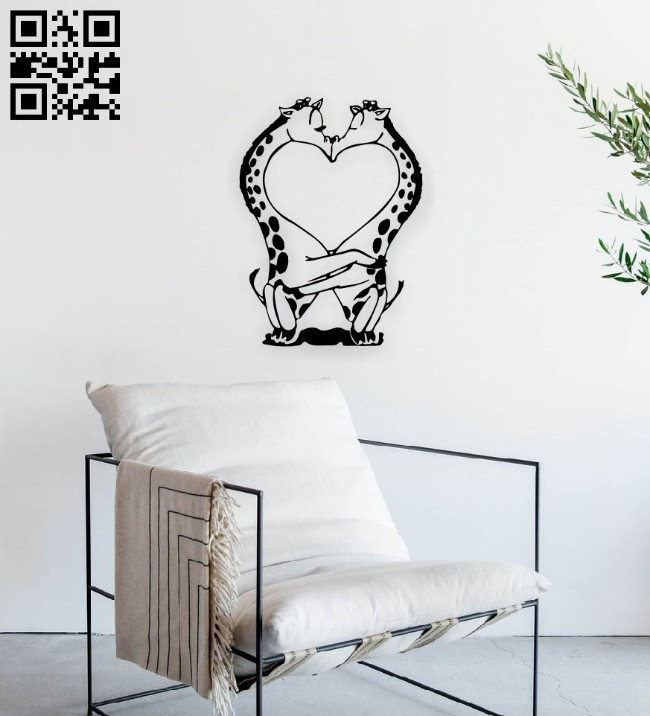Giraffes couple wall decor E0014560 file cdr and dxf free vector download for laser cut
