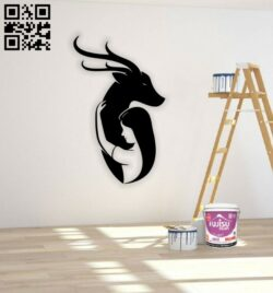 Girl with deer wall decor E0014602 file cdr and dxf free vector download for laser cut plasma