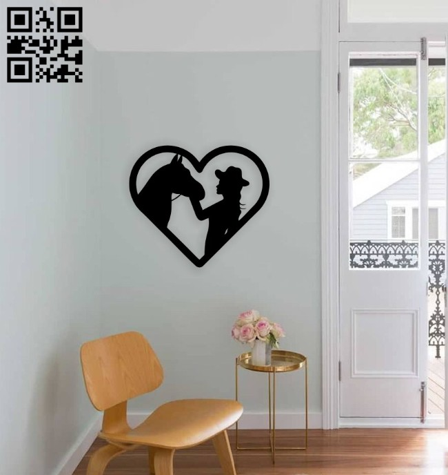 Girl with horse wall decor E0014686 file cdr and dxf free vector download for laser cut plasma