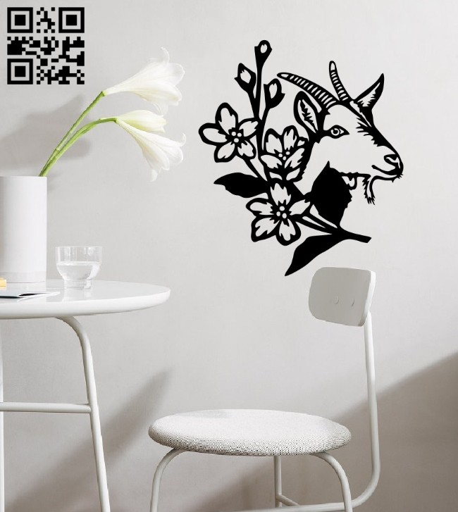 Goat with flower wall decor E0014719 file cdr and dxf free vector download for laser cut plasma