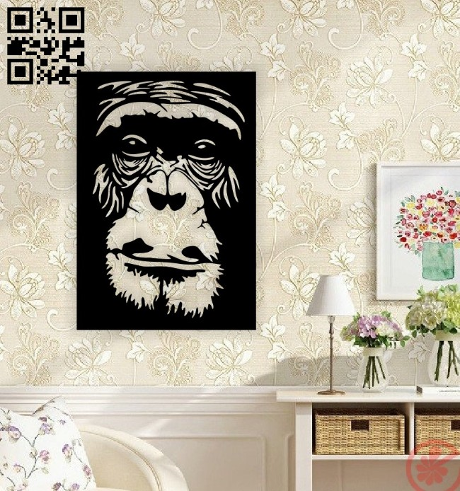 Gorilla face wall decor E0014651 file cdr and dxf free vector download for laser cut plasma