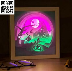 Halloween light box E0014677 file cdr and dxf free vector download for laser cut