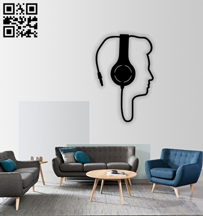 Headphone wall decor E0014573 file cdr and dxf free vector download for laser cut plasma