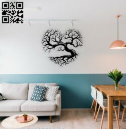 Heart tree wall decor E0014578 file cdr and dxf free vector download for laser cut plasma