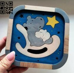 Hippo puzzle E0014730 file cdr and dxf free vector download for laser cut