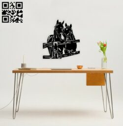 Horses wall decor E0014667 file cdr and dxf free vector download for laser cut plasma