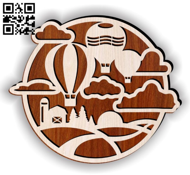 Hot air balloon E0014503 file cdr and dxf free vector download for laser cut