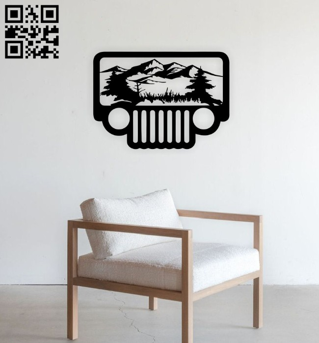 Jeep scene wall decor E0014737 file cdr and dxf free vector download for laser cut plasma