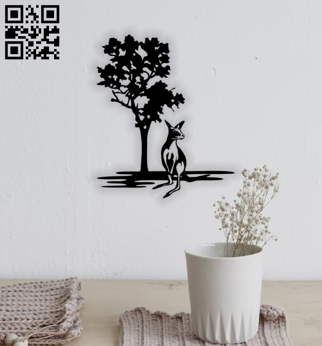 Kangaroo wall decor E0014648 file cdr and dxf free vector download for laser cut plasma