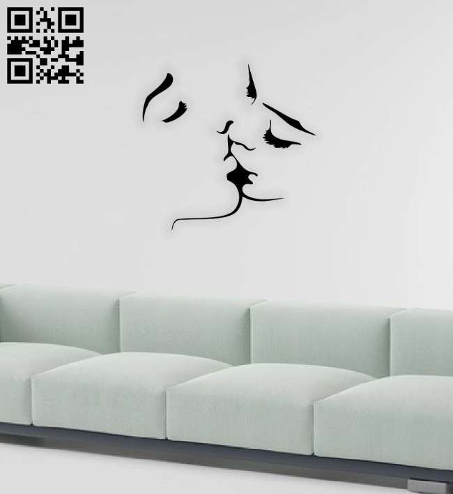 Kissing couple wall decor E0014575 file cdr and dxf free vector download for laser cut plasma
