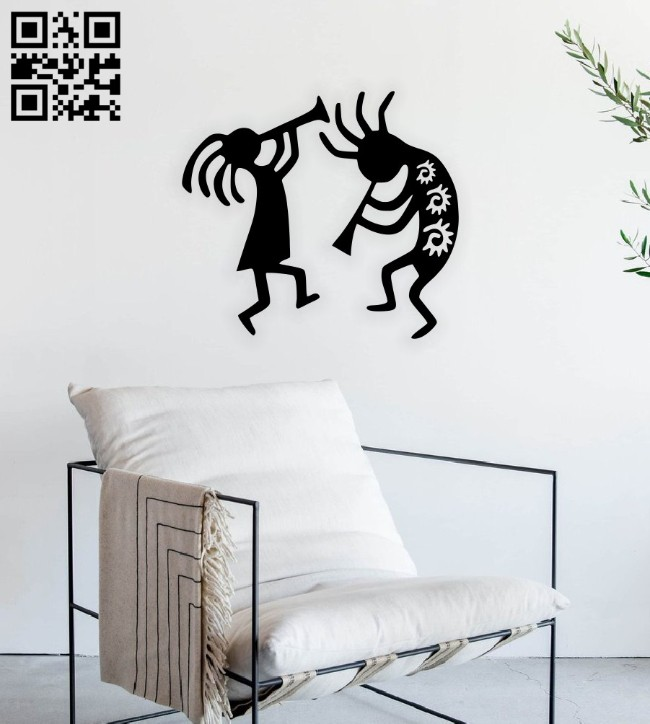 Kokopelli wall decor E0014816 file cdr and dxf free vector download for laser cut plasma