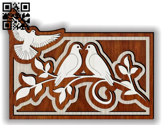 Layered dove E0014504 file cdr and dxf free vector download for laser cut