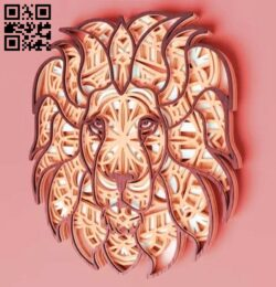 Layered lion E0014656 file cdr and dxf free vector download for laser cut