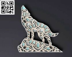 Layered wolf E0014797 file cdr and dxf free vector download for laser cut