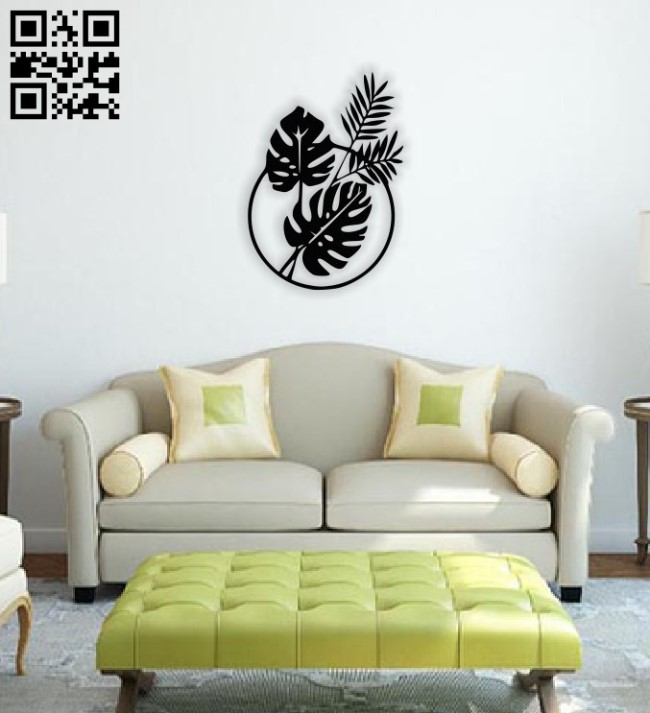 Leafs wall decor E0014512 file cdr and dxf free vector download for laser cut plasma