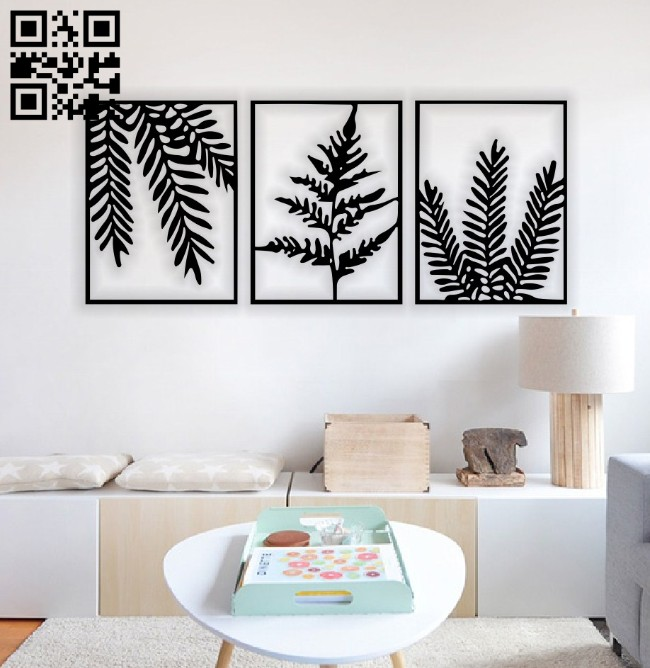 Leafs wall decor E0014635 file cdr and dxf free vector download for laser cut plasma