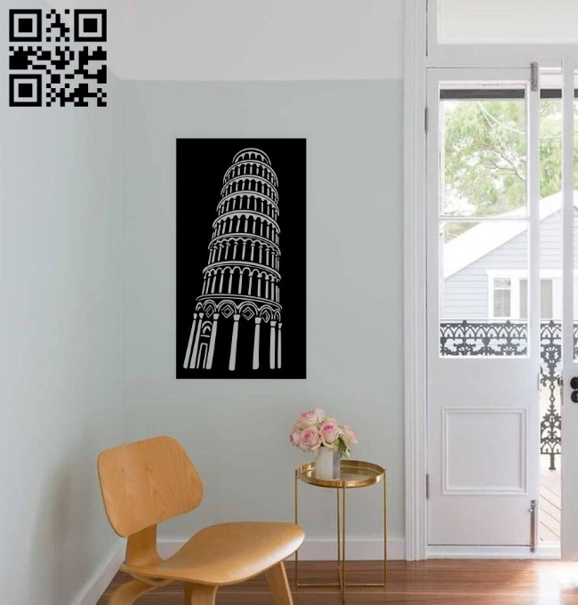 Leaning Tower of Pisa wall decor E0014783 file cdr and dxf free vector download for laser cut plasma