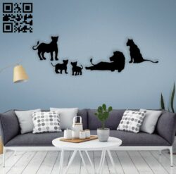 Lion family wall decor E0014555 file cdr and dxf free vector download for laser cut plasma