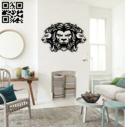 Lions head wall decor E0014693 file cdr and dxf free vector download for laser cut plasma