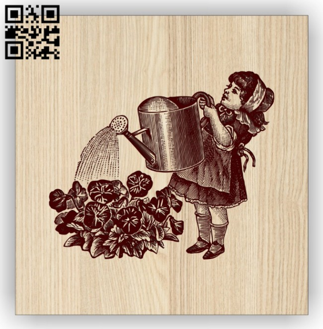 Little girl watering flowers E0014532 file cdr and dxf free vector download for laser engraving machine