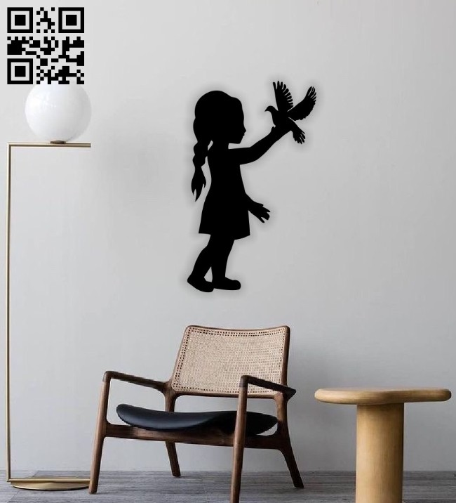 Little girl with bird wall decor E0014558 file cdr and dxf free vector download for laser cut plasma