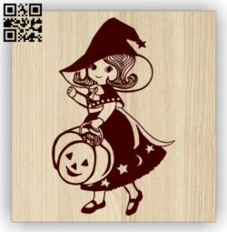 Little girl with halloween E0014531 file cdr and dxf free vector download for laser engraving machine