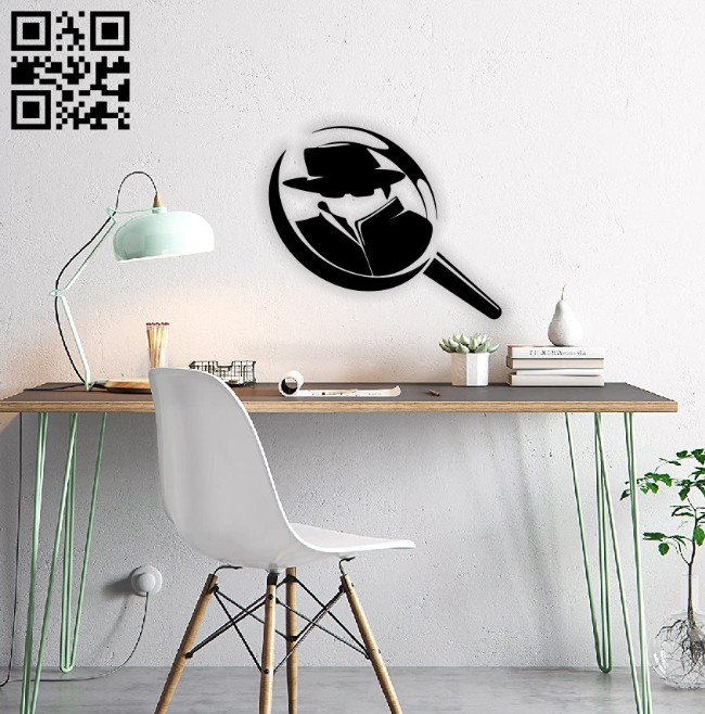 Magnifying glass wall decor E0014786 file cdr and dxf free vector download for laser cut plasma