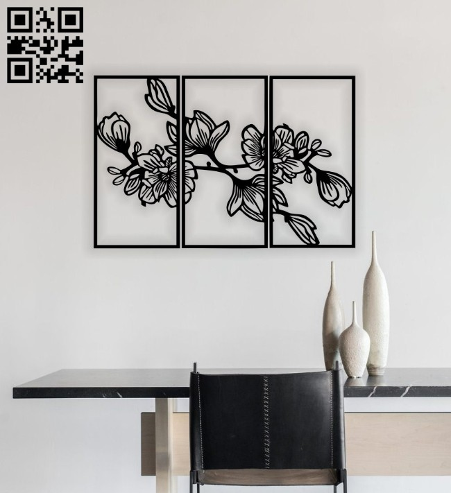 Magnolia wall decor E0014654 file cdr and dxf free vector download for laser cut plasma