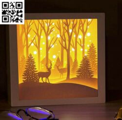 Merry Christmas in the pine forest light box E0014774 file cdr and dxf free vector download for laser cut