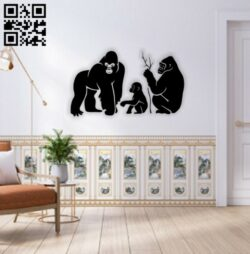 Monkey family wall decor E0014621 file cdr and dxf free vector download for laser cut plasma