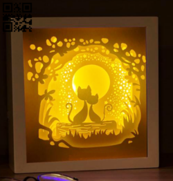 Moon cat light box E0014676 file cdr and dxf free vector download for laser cut