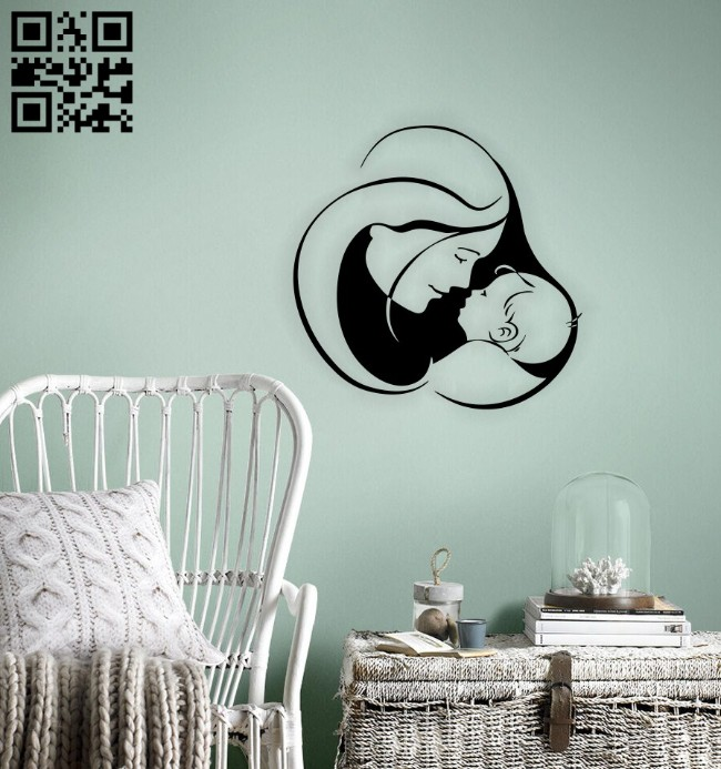 Mother with baby wall decor E0014694 file cdr and dxf free vector download for laser cut plasma
