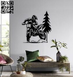 Motorcycle wall decor E0014790 file cdr and dxf free vector download for laser cut plasma