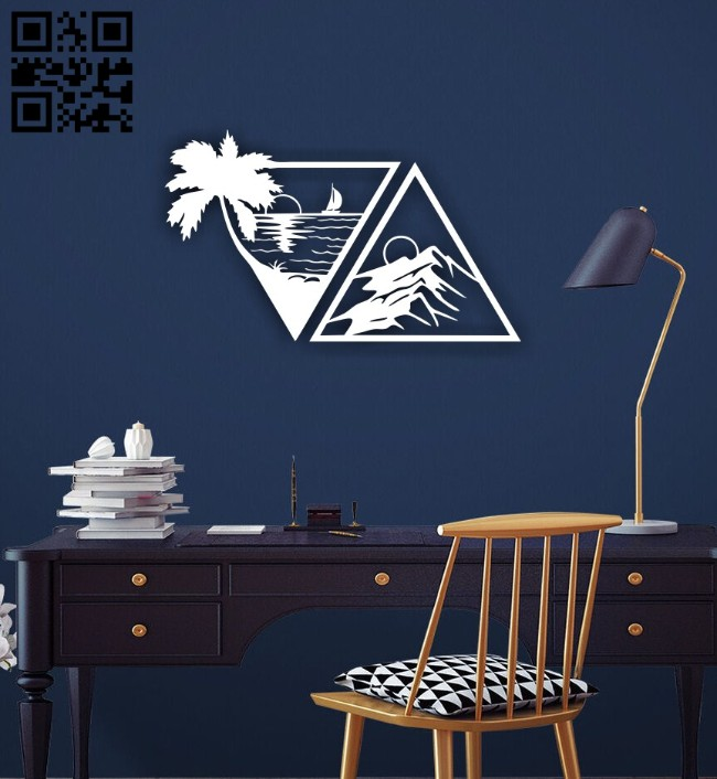 Mountain and sea wall decor E0014763 file cdr and dxf free vector download for laser cut plasma