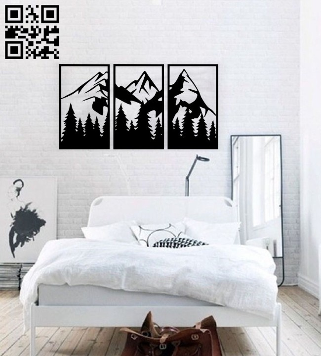 Mountain wall decor E0014653 file cdr and dxf free vector download for laser cut plasma