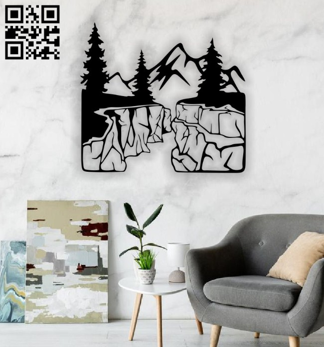 Mountain wall decor E0014784 file cdr and dxf free vector download for laser cut plasma