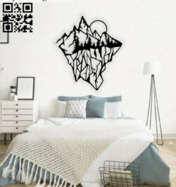 Mountain with sun wall decor E0014746 file cdr and dxf free vector download for laser cut plasma