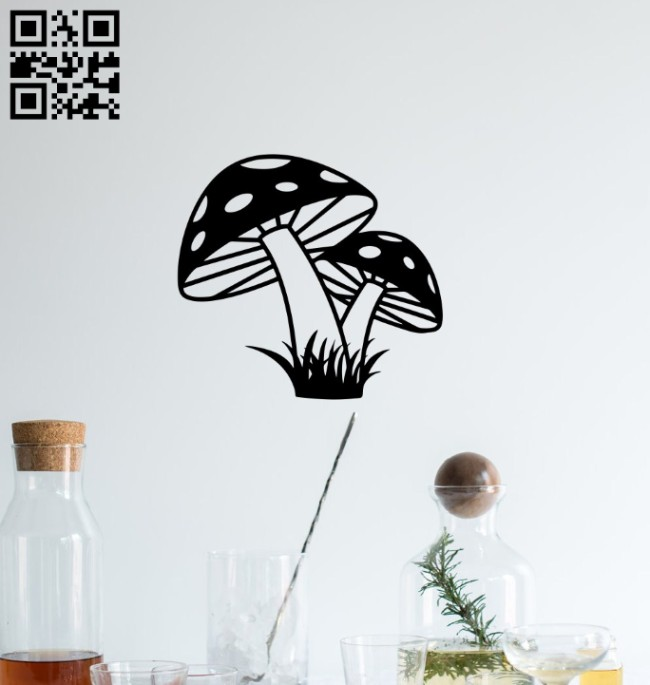 Mushroom wall decor E0014684 file cdr and dxf free vector download for laser cut plasma