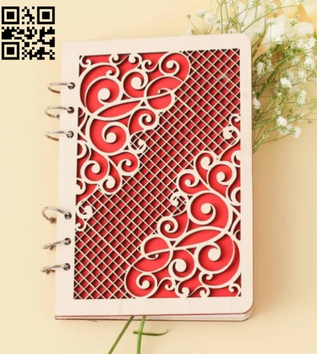 Notebook cover E0014729 file cdr and dxf free vector download for laser cut