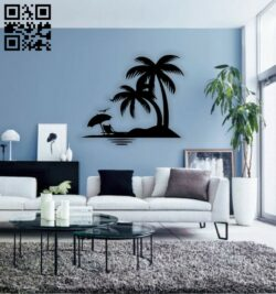 Palm tree E0014582 file cdr and dxf free vector download for laser cut plasma